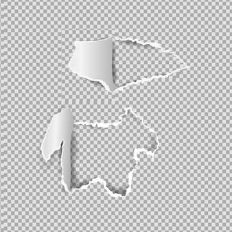 Papier déchiré réaliste, trous dans la feuille de papier sur fond transparent.