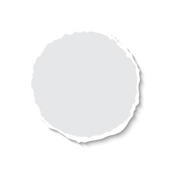 Papier déchiré rond de vecteur avec une ombre douce isolée sur fond blanc, page de déchirure. modèle vectoriel réaliste pour bannière, publicité
