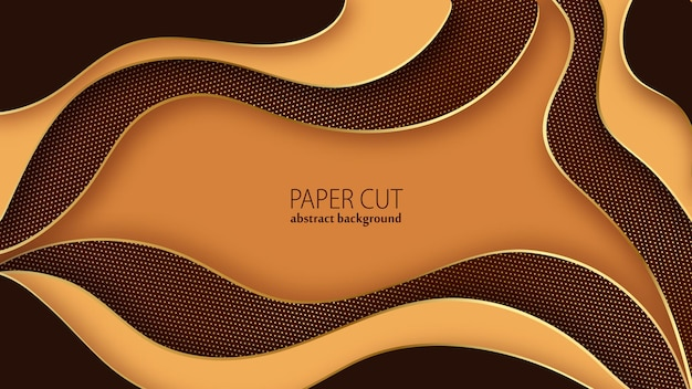 Papier découpé abstrait chocolat et couches ondulées dorées