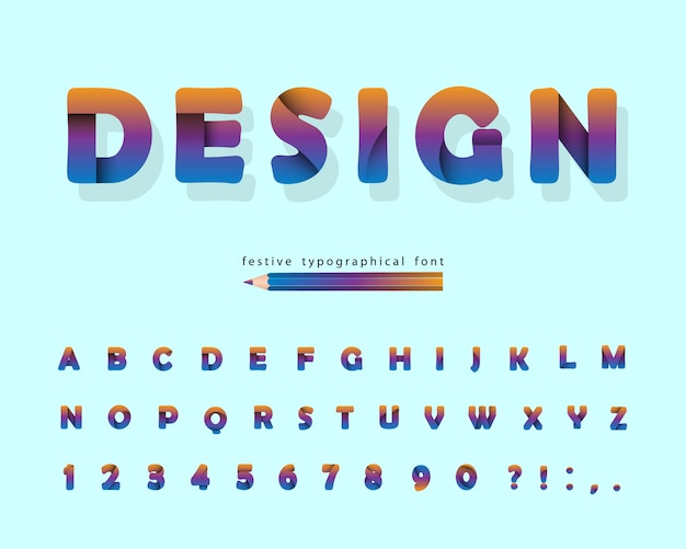 Papier découpé alphabet. police de conception moderne.