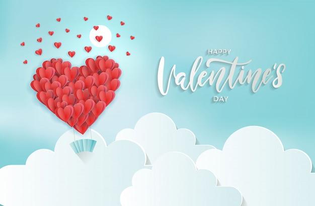 Papier découpé art du ballon coeur volant sous les nuages éparpillant peu de coeur dans le ciel. 3d saint valentin.