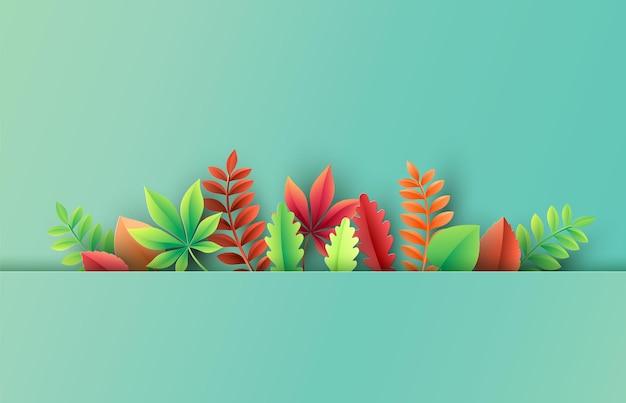 Papier découpé d'automne, feuilles sur fond. illustration vectorielle.