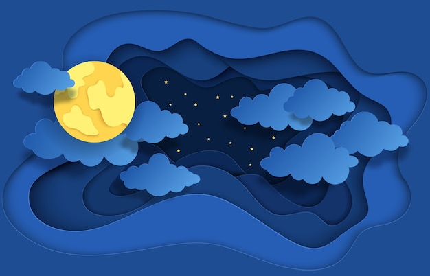 Papier découpé ciel nocturne. illustration de rêve avec des étoiles de lune et des nuages
