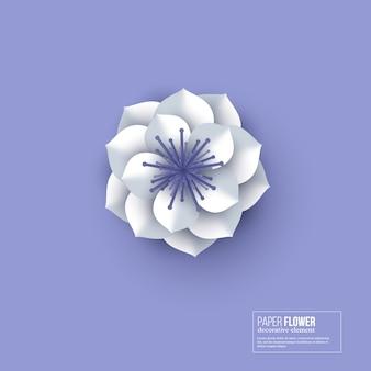 Papier découpé couleur fleur blanche.