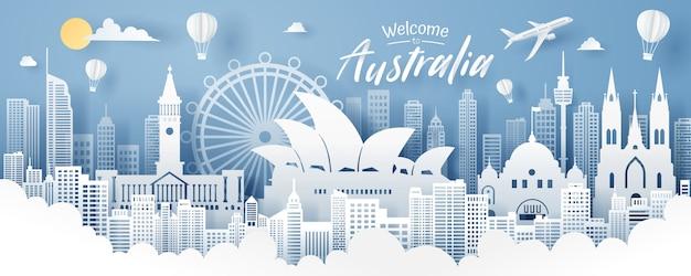 Papier découpé dans l'emblème de l'australie, voyages et tourisme.