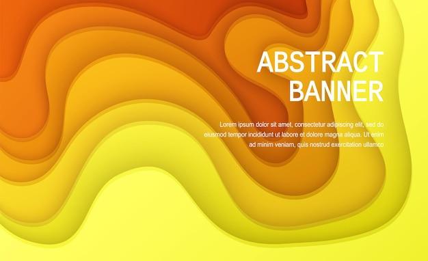 Papier découpé fond de couleur jaune affiche abstraite en papier jaune doux texturé avec des couches ondulées