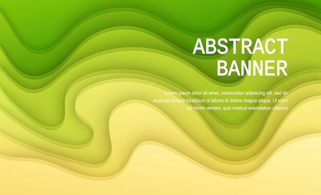 Papier découpé fond couleur jaune et vert abstrait papier jaune doux affiche texturé couches ondulées