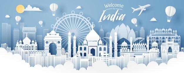 Papier découpé de l'inde repère, voyage et tourisme concept.