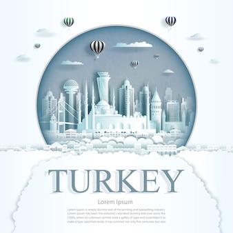 Papier découpé monuments de la turquie avec des ballons à air chaud et modèle de fond de nuages