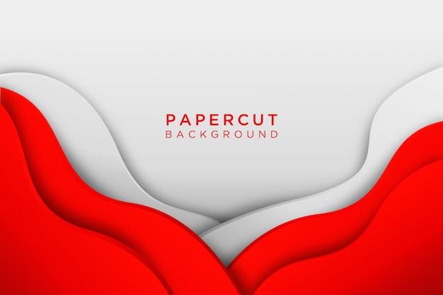 Papier découpé ondulé abstrait rouge blanc