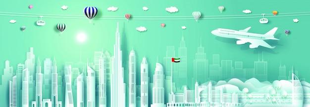 Papier découpé paysage urbain des émirats arabes unis avec avion