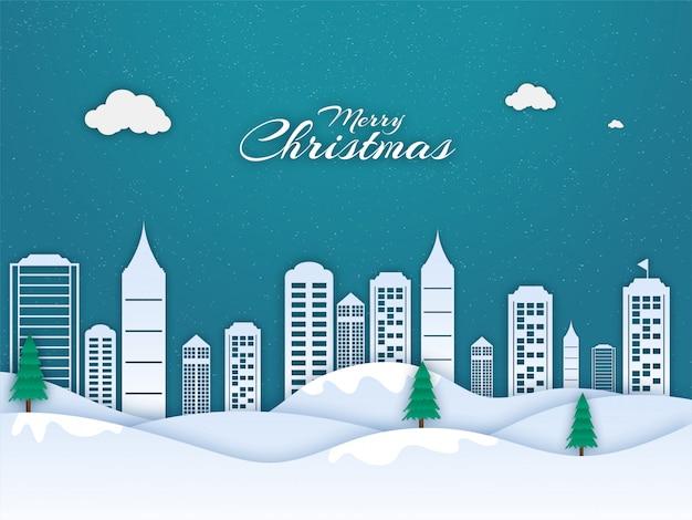 Papier découpé paysage de ville hiver style sur bleu pour le concept de célébration de joyeux noël. affiche ou carte de voeux.