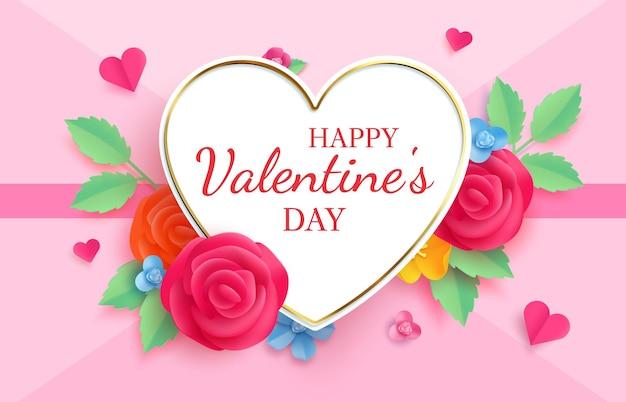 Papier découpé saint valentin. carte de voeux origami avec fleurs et coeurs. forme de coeur de lettre de célébration d'amour et bannière de vecteur de roses. romance d'origami, célébration et valentine, bannière romantique d'amour