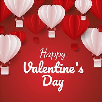 Papier découpé de la saint-valentin célébrer la carte avec des ballons à air en forme de cœur rouge et rose voler. vector