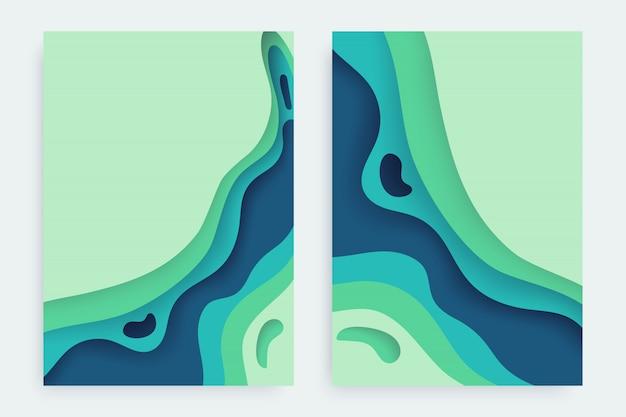 Papier découpé sertie de fond abstrait 3d slime et de calques de vagues vertes bleues