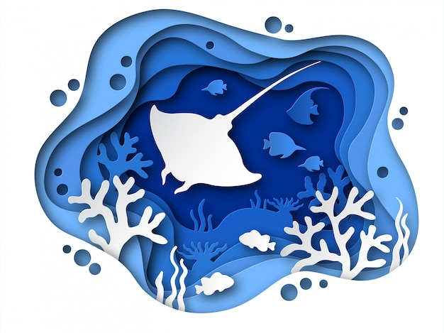 Papier découpé sous l'eau. fond de l'océan avec des animaux marins, des coraux et des silhouettes de poissons. fond de grotte en couches de papier de fond tropical