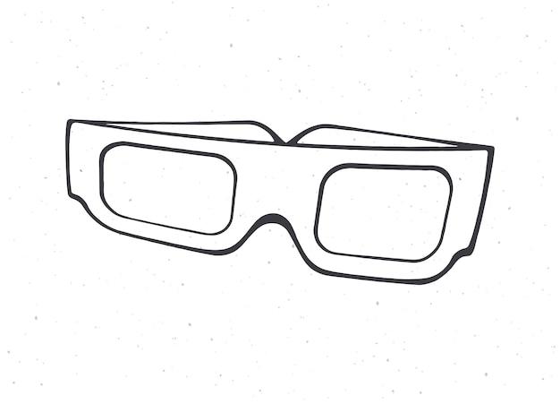 Papier de dessin animé lunettes 3d vue de face contour lunettes rétro stéréo illustration vectorielle
