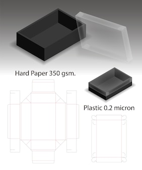 Papier dur et boîte en plastique avec dieline