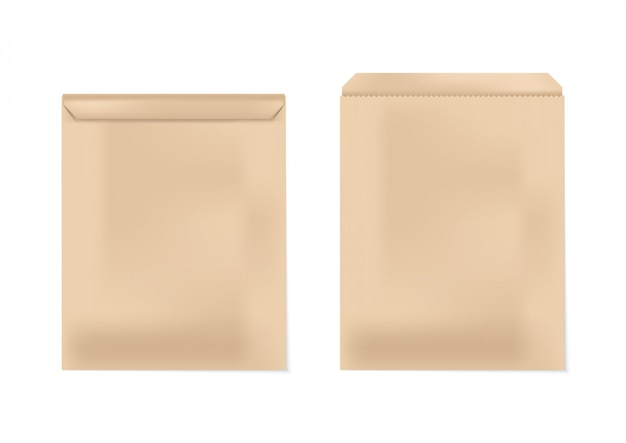 Papier enveloppe marron ouvert et fermé