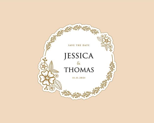 Papier féminin couronne botanique logo autocollant pour bouquet spa salon de beauté boutique carte de mariage