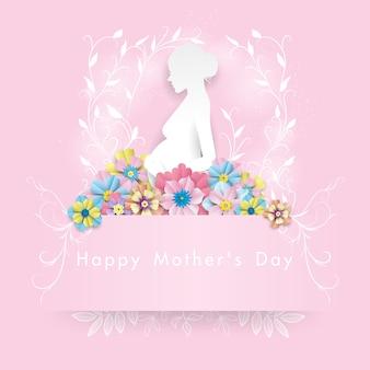Papier femme blanche sous fleur colorée. illustration de la fête des mères heureuse