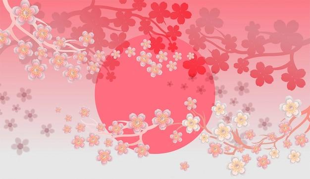 Papier de fleur de cerisier coupé des stlyes sur un beau fond
