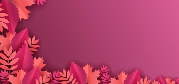 Papier floral coupe décoration avec fond de feuilles d'érable