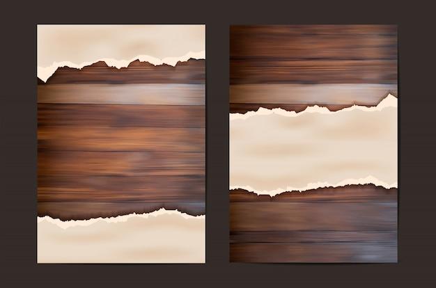 Papier grunge sur mur en bois