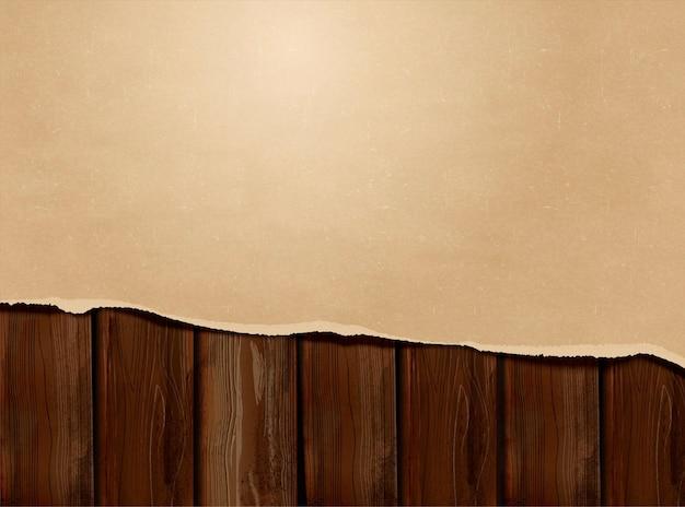 Papier kraft déchiré sur fond de table en bois en illustration 3d