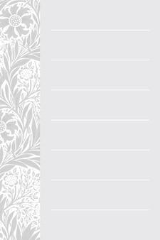 Papier à Lettres Gris William Morris Vecteur gratuit
