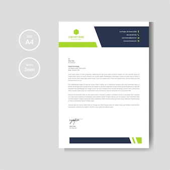 Papier à lettres vert moderne