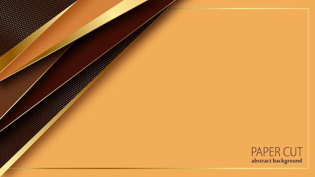 Papier de luxe coupé abstrait motif or formes géométriques texture en couches 3d