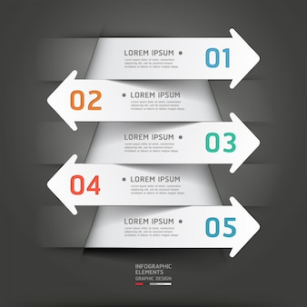 Papier moderne coupé infographie de flèche.