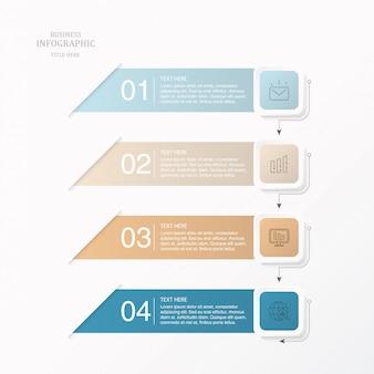 Papier moderne infographie élément pour concept d'entreprise.