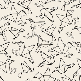 Papier monochrome sans soudure, oiseau, origami, motif, fond