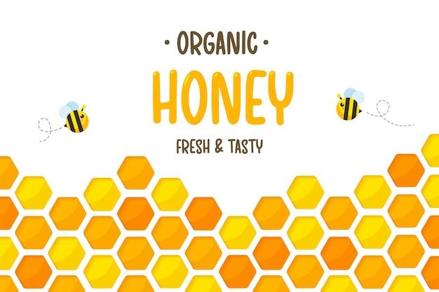 Papier à motif hexagonal en nid d'abeille jaune doré coupé en arrière-plan avec abeille et miel doux à l'intérieur.