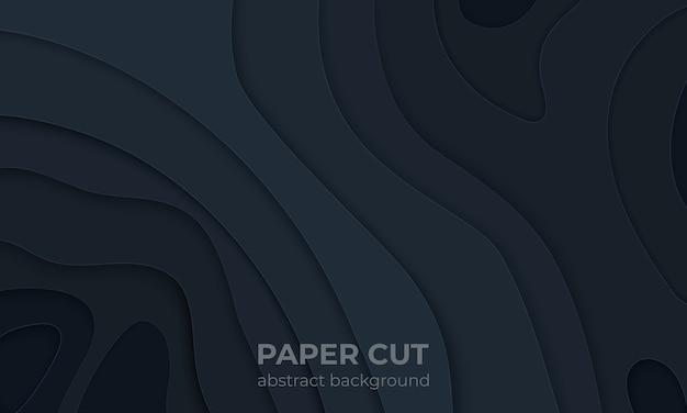 Papier noir coupé en arrière-plan. couches de découpe liquides abstraites 3d, conception moderne de topographie