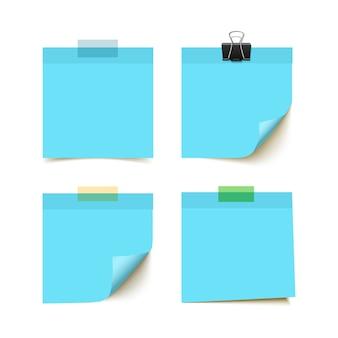 Papier à notes de bâtons isolé sur fond blanc. papier collant, rappels. papier de bureau
