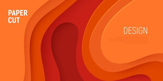 Papier orange coupé avec couches de vagues abstraites fond abstrait et slime 3d.
