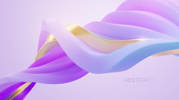 Papier peint abstrait minimaliste avec des formes ondulées de ruban violet et doré entrelacées