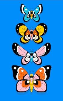 Papier peint abstrait papillons colorés