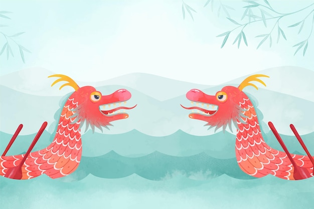 Papier peint aquarelle avec bateau dragon