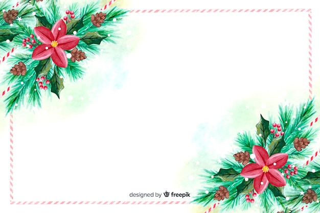Papier peint aquarelle de noël avec des fleurs