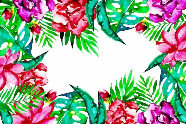 Papier peint artistique avec des fleurs exotiques