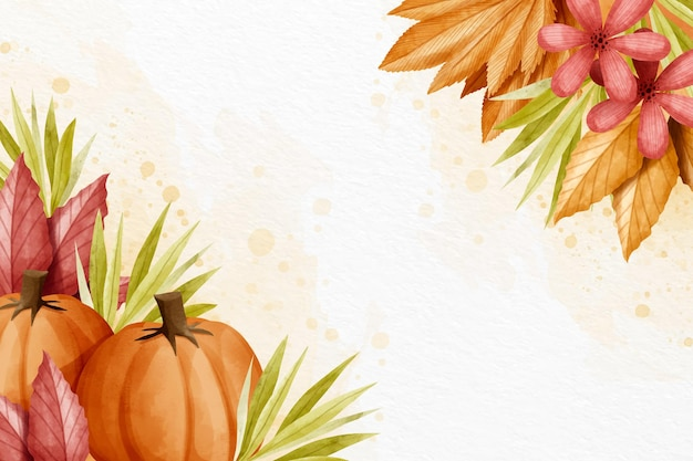 Papier peint automne aquarelle avec espace blanc