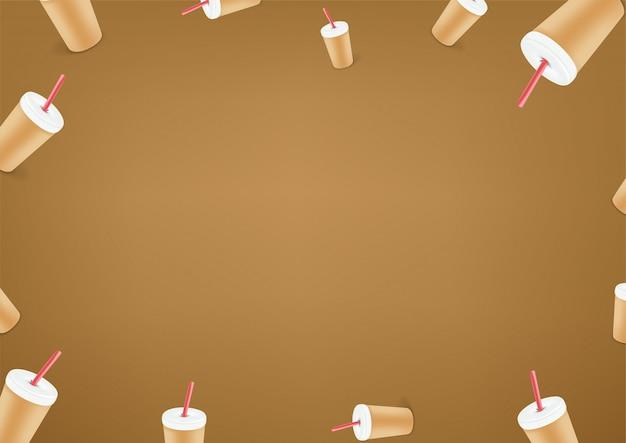 Papier peint café. fond de vecteur de message de médias sociaux. copiez l'espace pour un texte