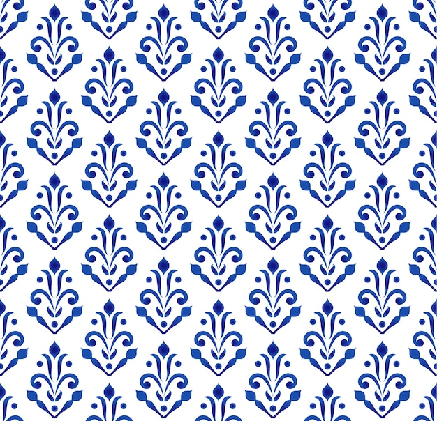 Papier peint classique bleu et blanc, dessin sans couture en céramique