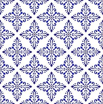 Papier peint classique bleu et blanc, fond floral décoratif, motif sans soudure damassé