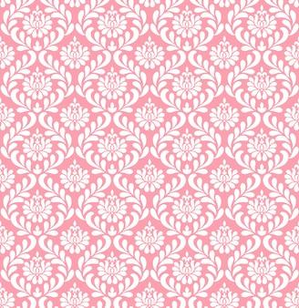 Papier peint damassé rose