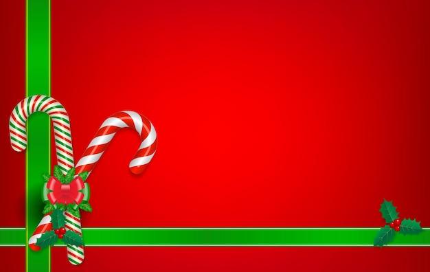 Papier peint de décoration de noël réaliste isolé ou papier peint rouge noël avec des bonbons et un arc